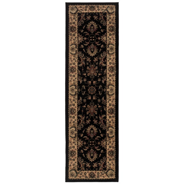 "Updated Old World Persian Flair Black/ Ivory Rug (2'3 x 7'9) - 2'3"" x 7'9"" Runner"