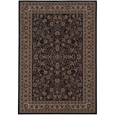 Gracewood Hollow Flanagan Persian Flair Black/ Ivory Area Rug - 4' x 6'