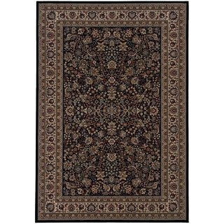 Updated Old World Persian Flair Black/ Ivory Area Rug (4' x 5'9)