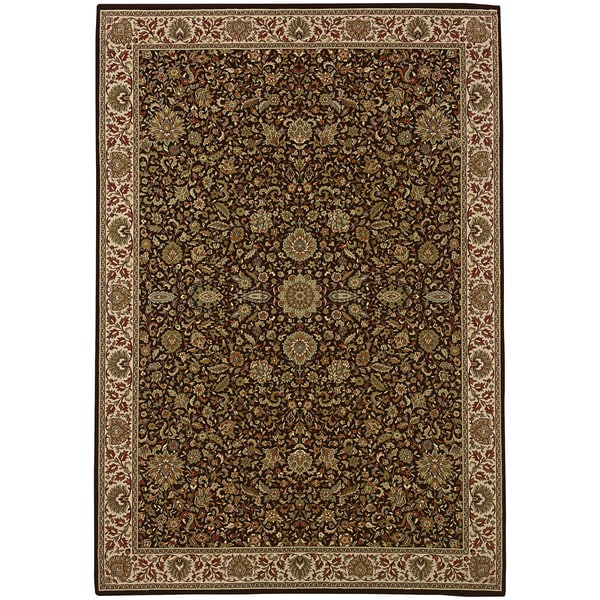 Updated Old World Persian Flair Brown/ Ivory Rug - 4' x 5'9