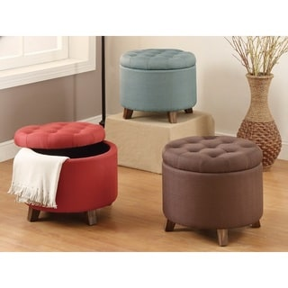 Shop 20 Inch Tufted Top Upholstered Round Storage Ottoman