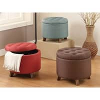 20-inch Tufted Top Upholstered Round Storage Ottoman