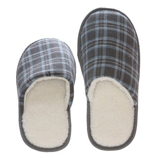 Men's Memory Foam Cotton/ Fleece Blue Checkered Slippers