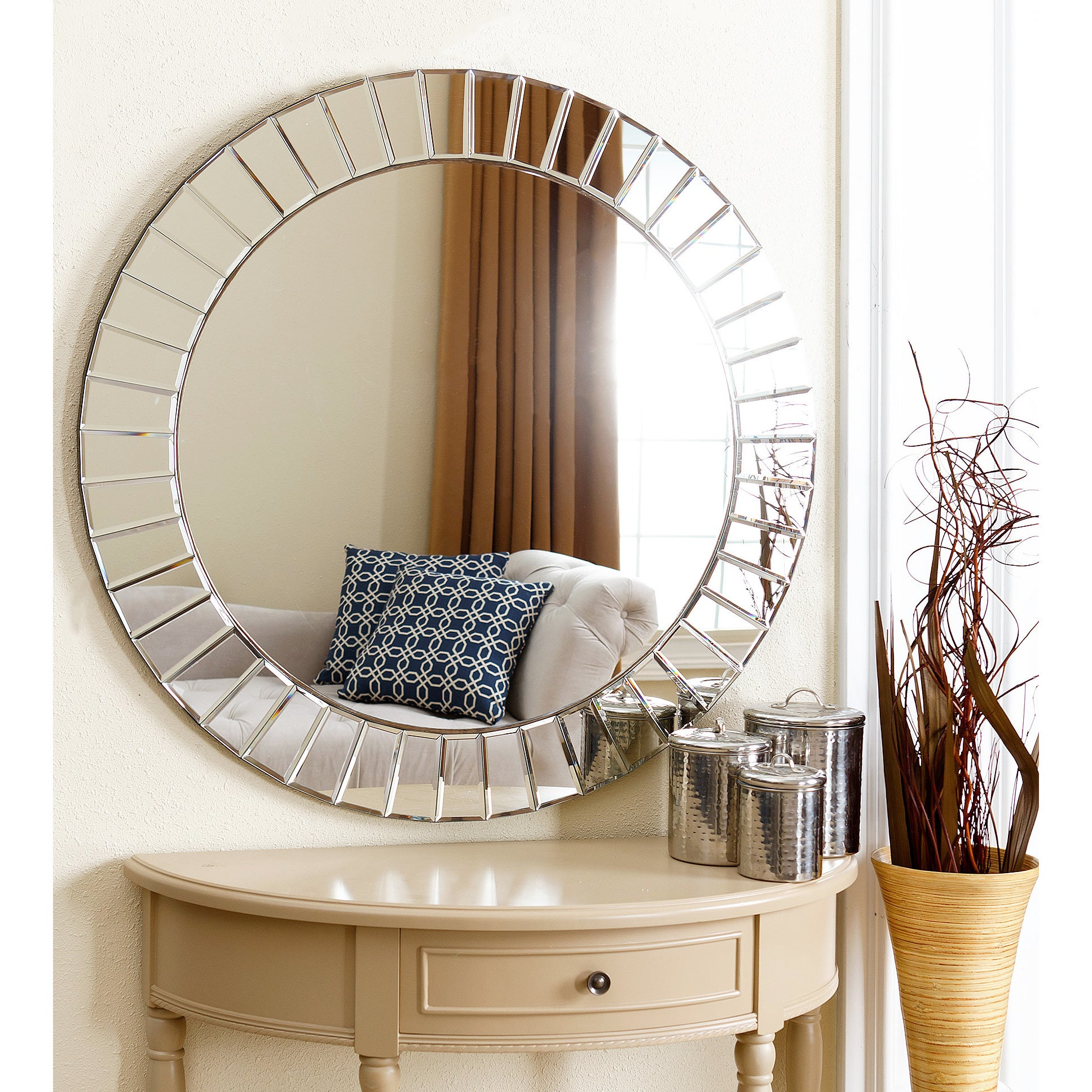 AMAZING Living Room Round Wall Mirror Decor Abbyson Santorini Top ...