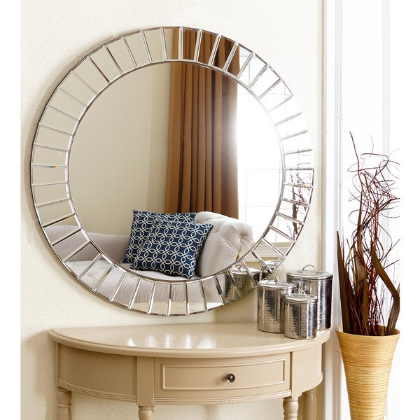 round living room mirrors shop abbyson santorini wall mirror free shipping 17352