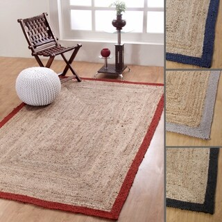 Hand-woven Braided Jute Reversible Border Rug (5' x 8')