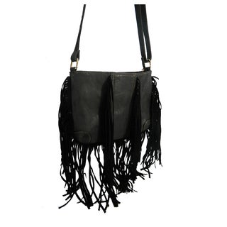 Daisy Faux Leather Fringe Crossbody