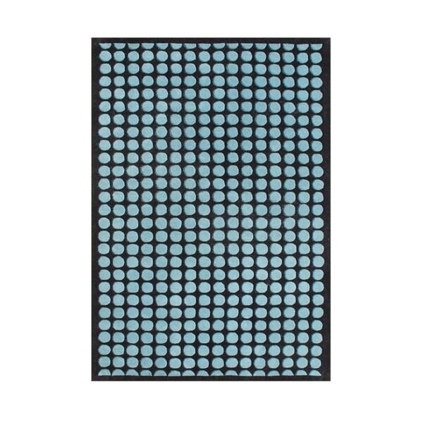 Alliyah Handmade Peacock Blue/ Black New Zealand Blend Wool Rug - 8' x 10'