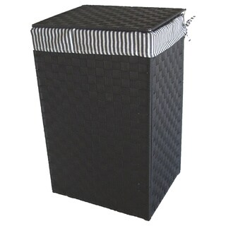 America Basket Company Woven Black Nylon Full-load Metal Frame Lined Hamper