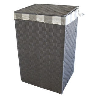 America Basket Company Woven Grey Nylon Full-load Metal Frame Lined Hamper