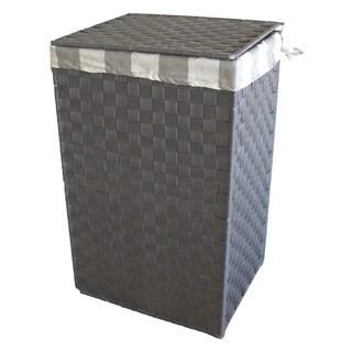 America Basket Company Woven Grey Nylon Full-load Metal Frame Lined Hamper
