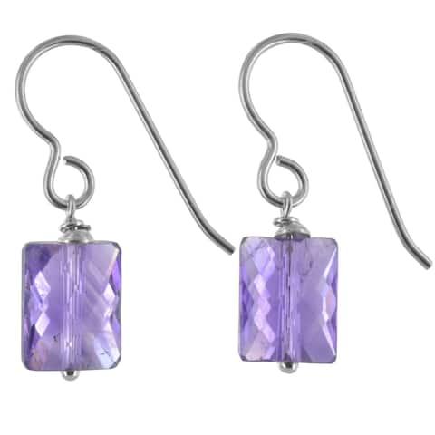 Amethyst Gemstone Silver Handmade Earrings