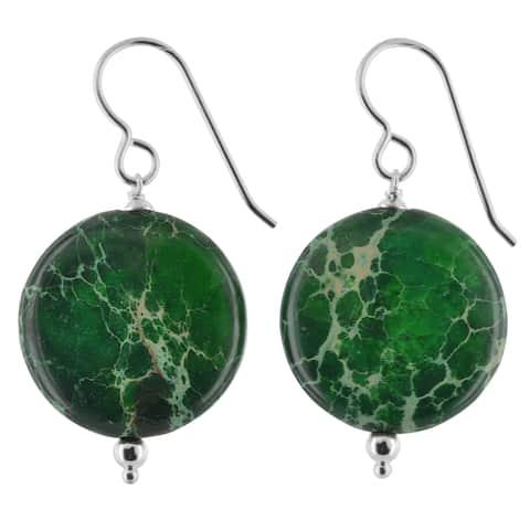 Green Jasper Gemstone Silver Handmade Earrings