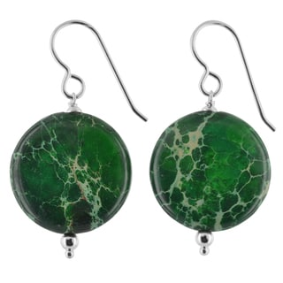 Ashanti Green Jasper Gemstone Sterling Silver Handmade Earrings