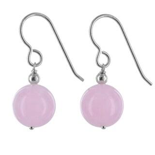 Ashanti Rose Jade Gemstone Sterling Silver Handmade Earrings
