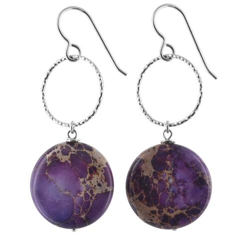 Lilac Jasper Gemstone Silver Handmade Earrings