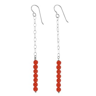 Ashanti Orange Jade Gemstone Sterling Silver Handmade Earrings
