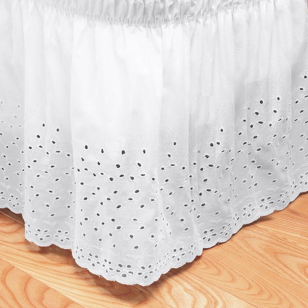 Elegant Floral Stitched Eyelet Bedskirt with 14-inch Drop