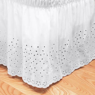 Elegant Floral Stitched Eyelet Bedskirt with 14-inch Drop