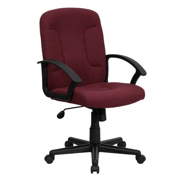 Mid-Back Fabric Executive Swivel Office Chair with Nylon Arms