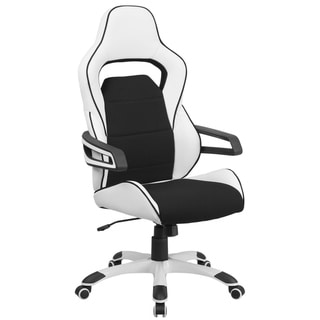 High Back White Vinyl Swivel Office Chair with Black Fabric Inserts and Arms