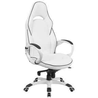Posey White Mesh Back Adjustable Swivel Office Arm Chair With Chrome Base F