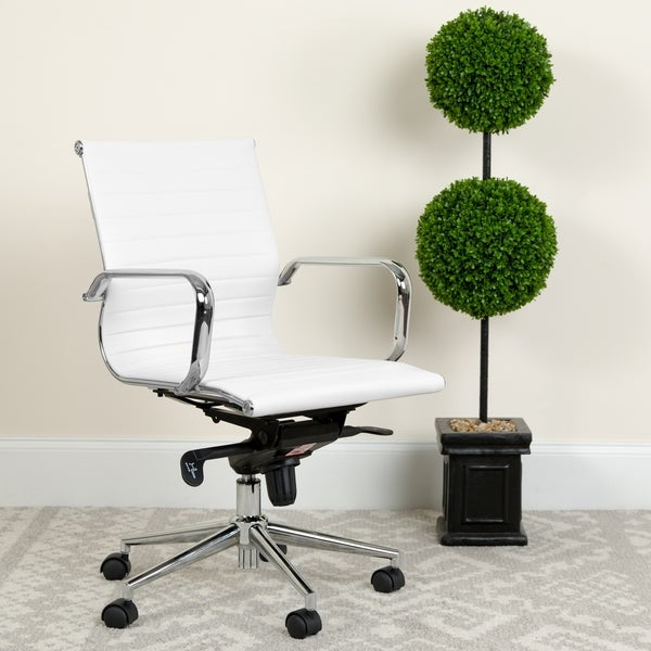 Mid-Back LeatherSoft Executive Office Chair with Gold Frame