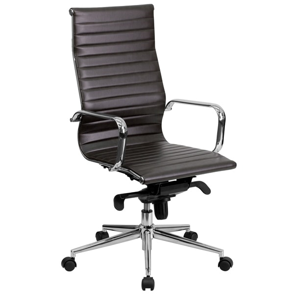 High Back LeatherSoft Executive Office Chair with Gold Frame
