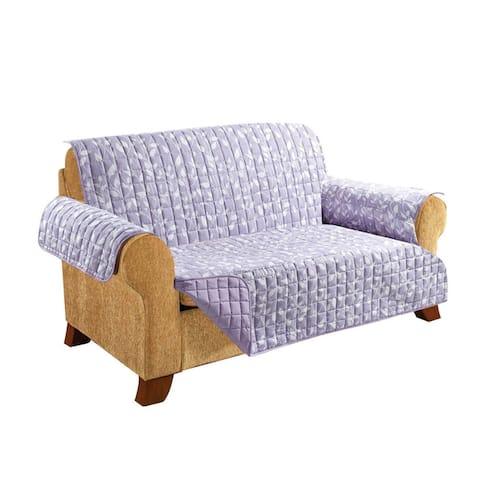 Elegant Comfort Leaf Design Quilted Reversible Loveseat Furniture Protector