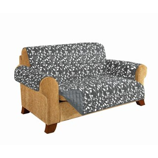 Elegant Comfort Leaf Design Quilted Reversible Loveseat Furniture Protector