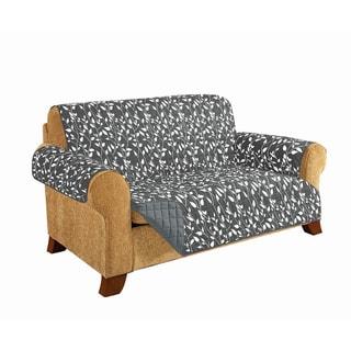 Elegant Comfort Leaf Design Quilted Reversible Sofa Furniture Protector - n/a