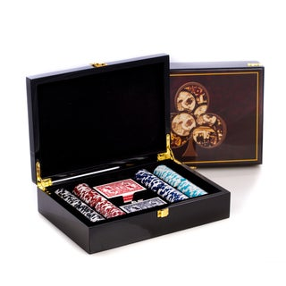 Bey Berk 'Pocket Aces' High Lacquered Poker Set