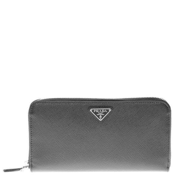 ed4fb909aff3 Shop Prada Saffiano Triangle Zip Around Wallet - Free Shipping Today ...