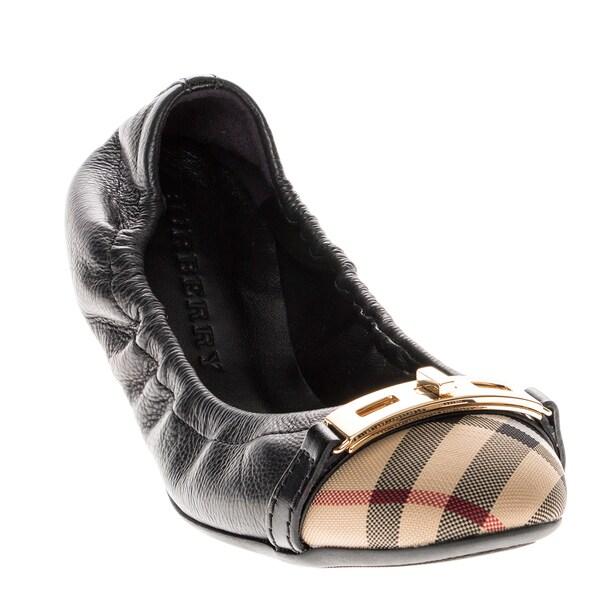 9f604e7eb37 Shop Burberry  Horseferry  Check Leather Ballerina Flats - Ships To ...