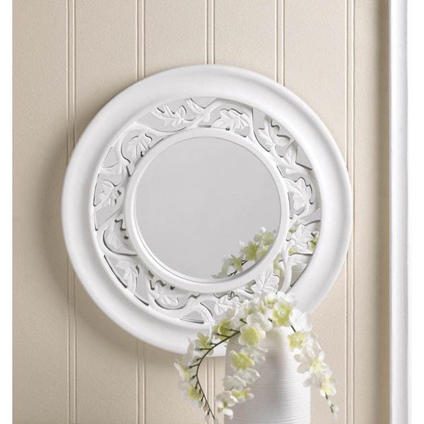 Ambor Leaf Pattern Round Mirror - White