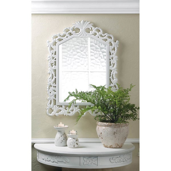 Shop Decorative Carved Wood Wall Mirror - White - Free ...
