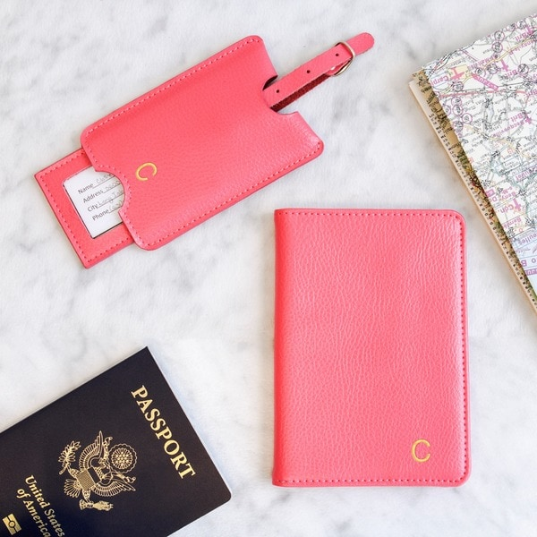 4a81dc9b038 Shop Personalized Pink Leather Passport Holder   Luggage Tag Set ...