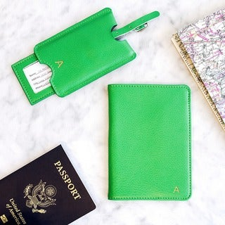 Personalized Green Leather Passport Holder & Luggage Tag Set