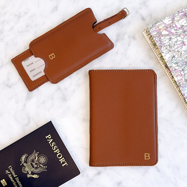 6805d694940 Shop Personalized Brown Leather Passport Holder   Luggage Tag Set ...