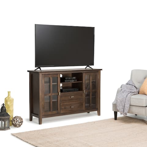 WYNDENHALL Stratford Solid Wood 53 inch Wide Contemporary TV Media Stand in Natural Aged Brown For TVs up to 55 inches
