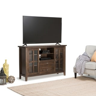 WYNDENHALL Stratford Tall Natural Aged Brown TV Media Stand for up to 60-inch TV's