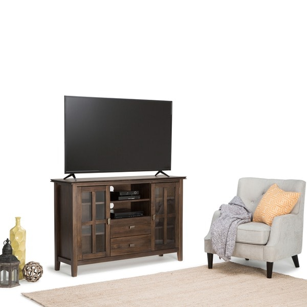 Shop Wyndenhall Stratford Tall Natural Aged Brown Tv Media Stand For