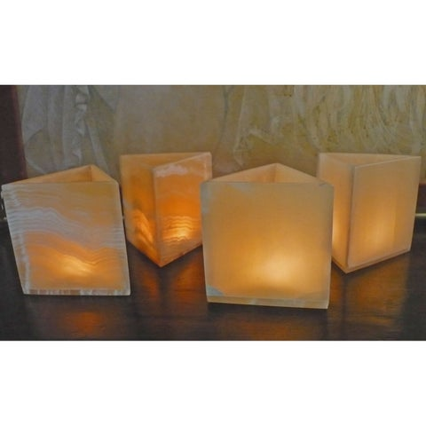 Handmade Set of 4 Pyramid Votive Candles (Egypt)