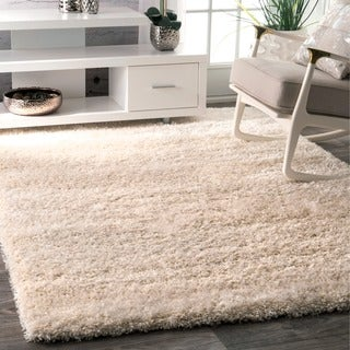 nuLOOM Soft and Plush Solid Thick Shag Ivory Rug (5'3 x 7'7)