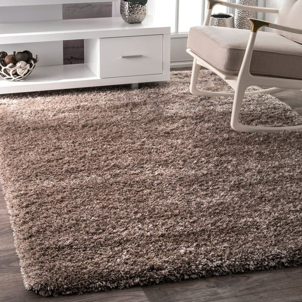 Nuloom soft and plush solid thick shag taupe rug 5 39 3 x 7 for Thick area rugs sale