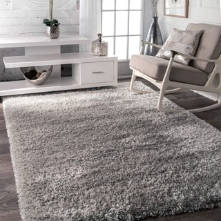 nuLOOM Soft and Plush Solid Thick Shag Grey Rug (4' x 6')