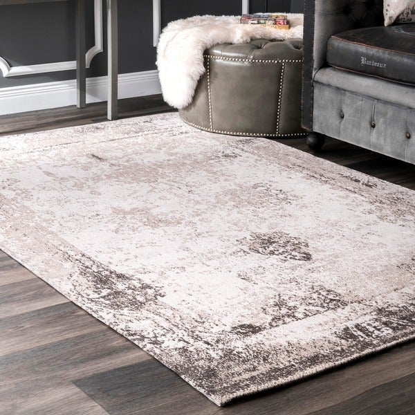 Nuloom Handmade Distressed Abstract Vintage Ivory Rug 5