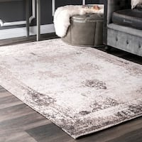 Maison Rouge Sabir Handmade Distressed Abstract Vintage Ivory Area Rug (7'6 x 9'6)