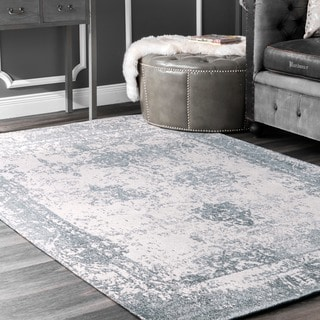 nuLOOM Handmade Distressed Abstract Vintage Wool Blue Rug (7'6 x 9'6)