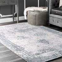 Maison Rouge Mansur Handmade Distressed Abstract Vintage Wool Blue Area Rug - 7'6 x 9'6
